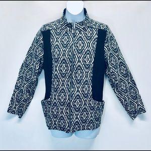 Susan Graver Black/White Zipper Jersey Jacket